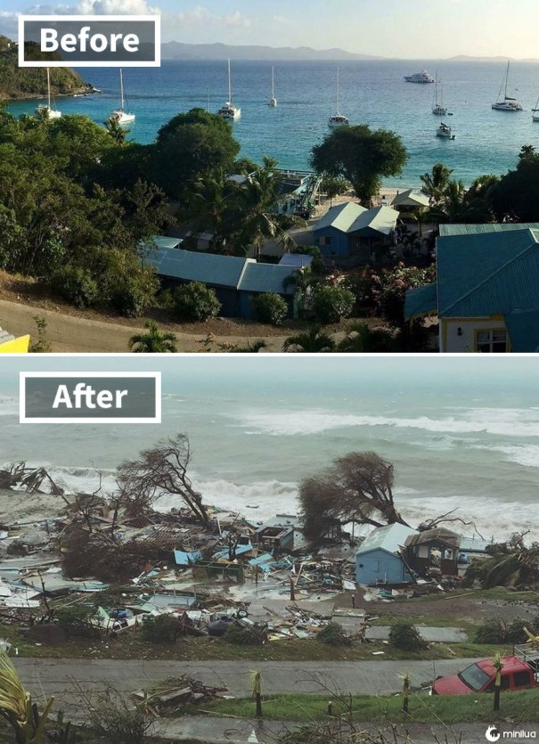 Bar do Ivan's Special Stress Free em Jost Van Dyke nas Ilhas Virgens Britânicas (antes e depois do dano Irma)