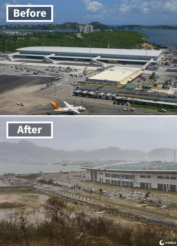 Aeroporto Princess Juliana (Before And After Irma Damage)
