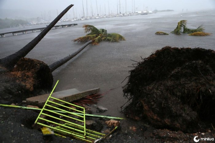 Debris é visto durante uma onda de tempestade perto do porto de Puerto Chico em Fajardo, Porto Rico