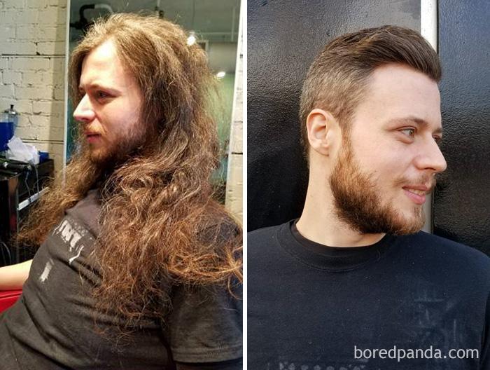 Ele teve cabelo comprido desde que ele tinha 14 anos e hoje fizemos o Big Chop e o doamos