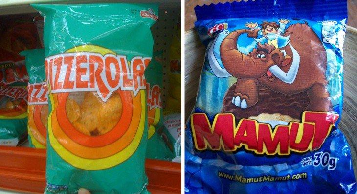 Imagem dividida em dois, mostrando algumas pizzerolas sabritas e um mamute