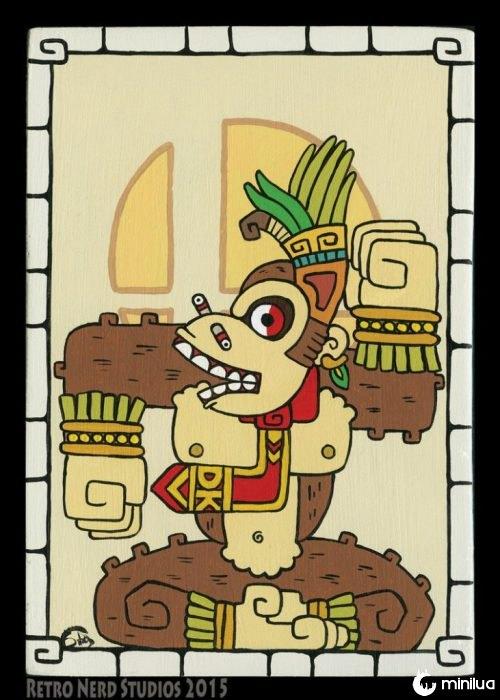 Personagens da Nintendo em estilo maia