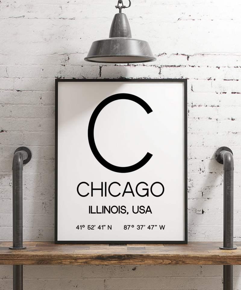 Chicago Illinois with GPS Coordinates Minimalist Art Print - Minimalist Wall Decor - Office Decor - Living Room Decor - Dorm Decor