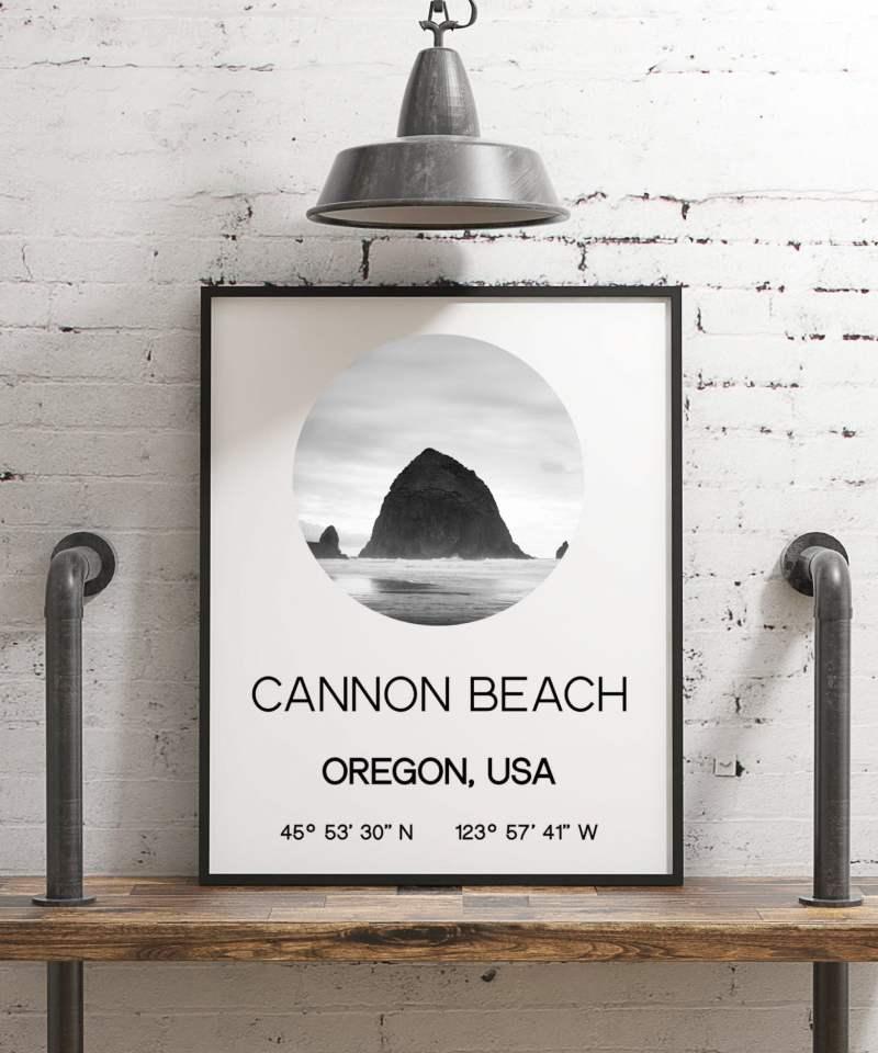 Cannon Beach Oregon with GPS Coordinates Minimalist Art Print - Modern Wall Decor - Office Decor - Living Room Decor - Dorm Decor