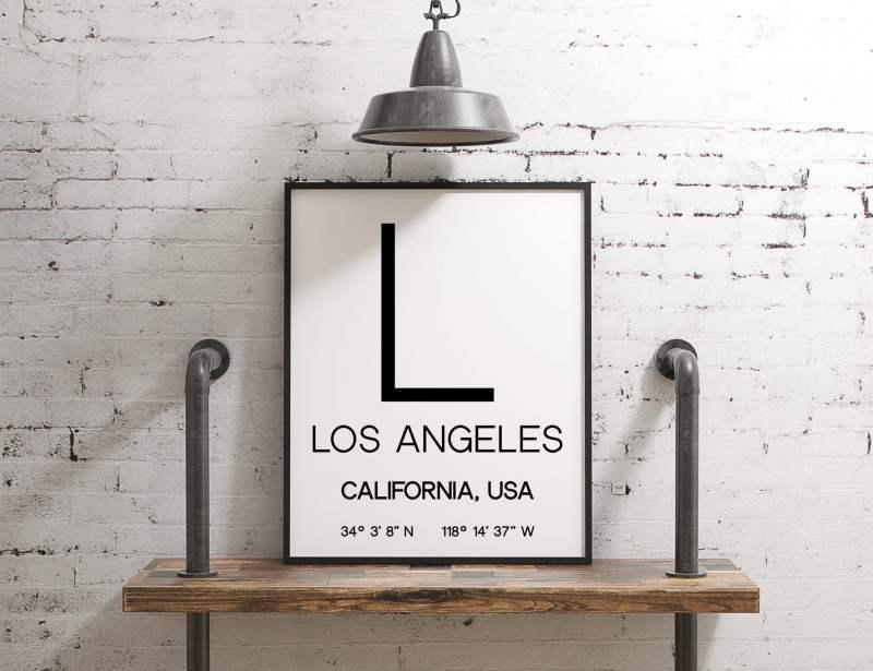 Los Angeles California with GPS Coordinates Art Print // LA GPS - Los Angeles Art Print, Los Angeles Typography, Office Decor, Dorm Decor