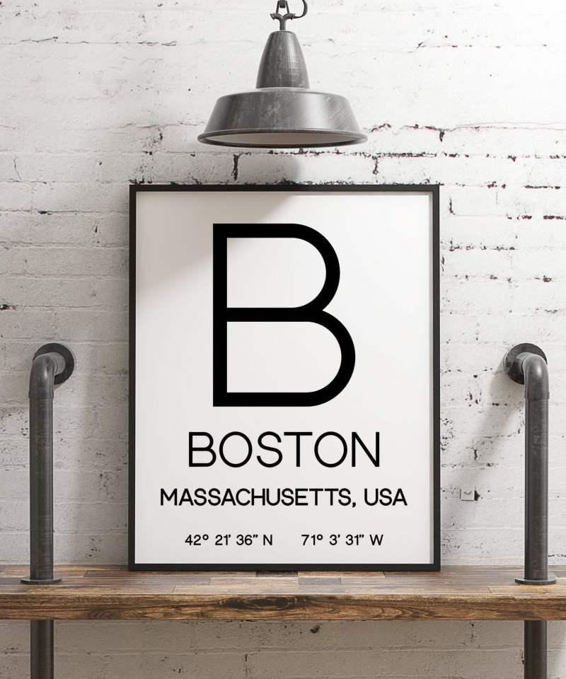 Boston Massachusetts with GPS Coordinates Minimalist Art Print - Minimalist Wall Decor - Office Decor - Living Room Decor - Dorm Decor