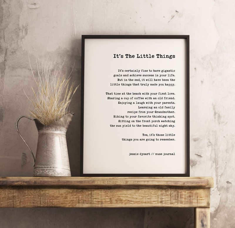 It's The Little Things Typography Print   Life Quotes   Jessie Dysart Muse Journal   Home Wall Decor   Wedding Poem   Minimalist Decor