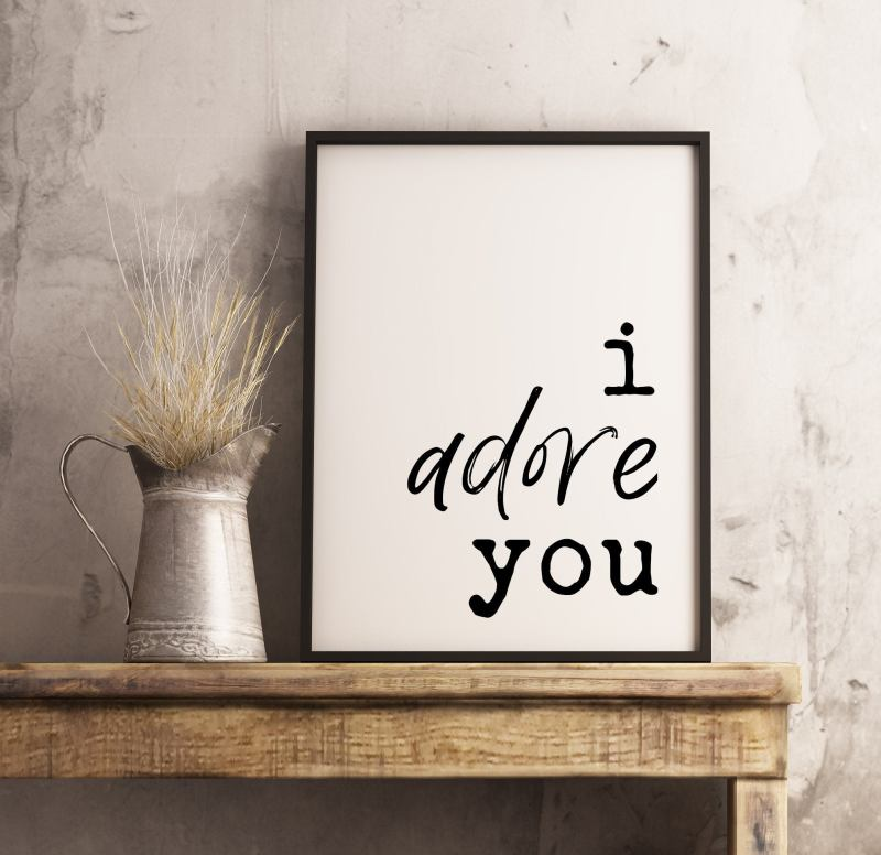 I Adore You Typography Print   Home Wall Decor   Wedding Print  Minimalist Decor   Wedding Gift   Wedding Sign   Bedroom Wall Art
