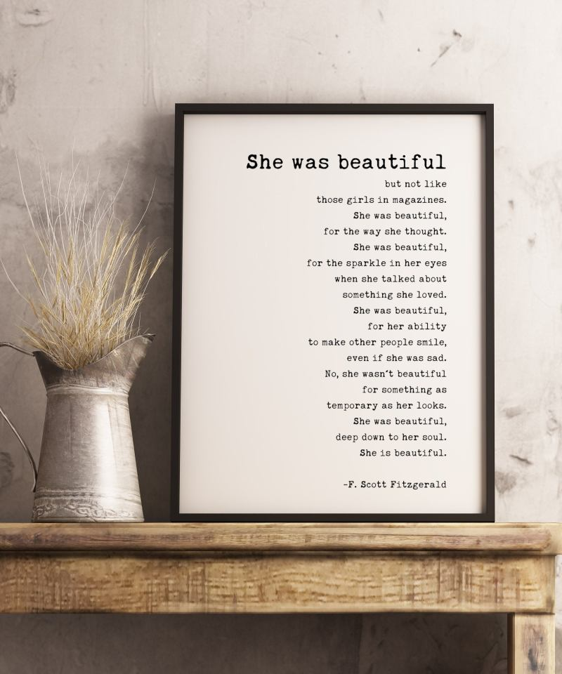 She was beautiful But Not Like Those Girls in Magazines (b) by F. Scott Fitzgerald Quote Typography Print | Wall Decor | Minimalist Decor