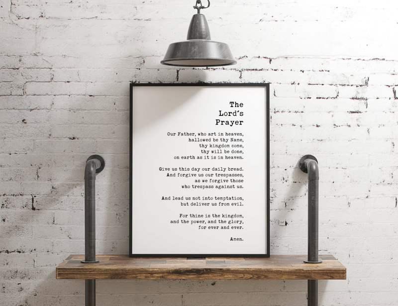 The Lord's Prayer Typography Print | Christian Wall Art | Home Wall Decor | Minimalist Decor