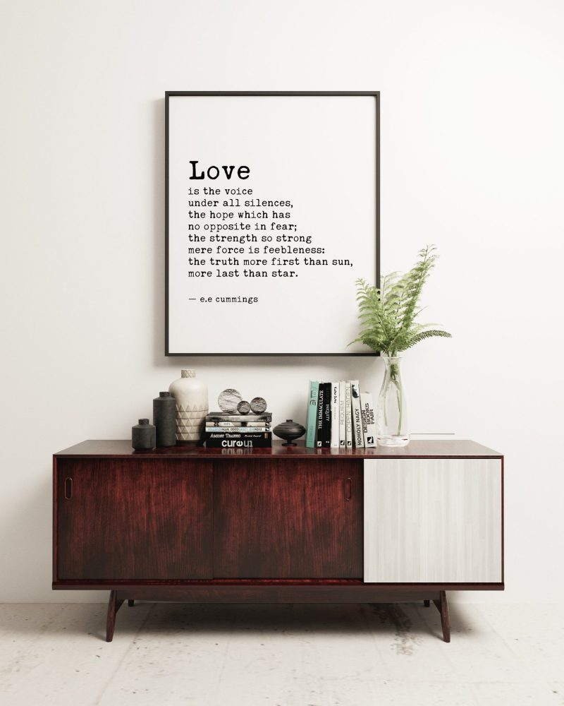 Love is the Voice Under All Silences by e.e. cummings Typography Print | Wedding Poem | Wedding Gift | Home Wall Decor | Minimalist Decor
