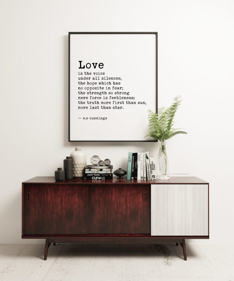 Love is the Voice Under All Silences by e.e. cummings Typography Print   Wedding Poem   Wedding Gift   Home Wall Decor   Minimalist Decor