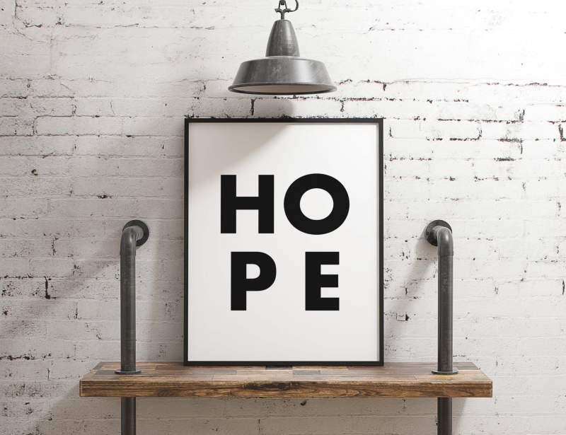 Hope Typography Print // Inspirational Print | Minimalist Art Print | Hope | Nursery Wall Art