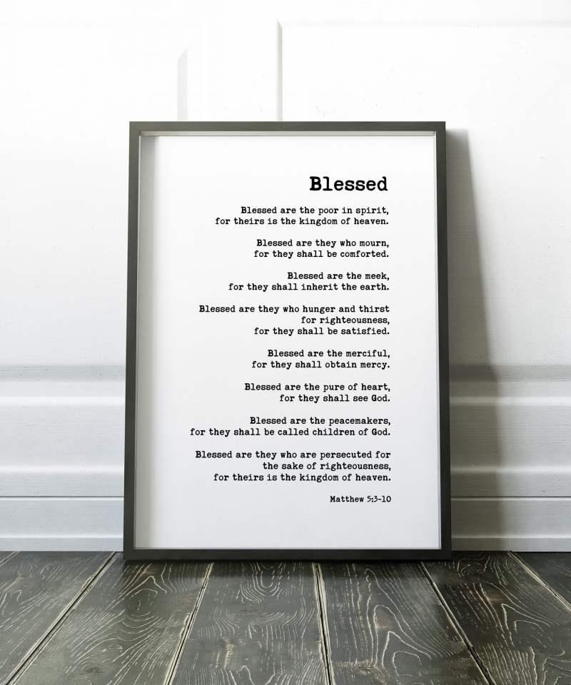 The Beatitudes Bible Verse Matthew 5:3-10 Typography Print // Christian Gifts | Bible Verse | Christian Wall Art | Scripture Art