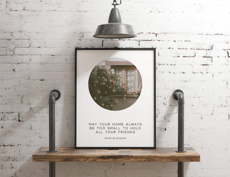 May Your Home Always Be Too Small To Hold All Your Friends - Irish Blessing // Typography Photo Print   Housewarming Gift   New Home Gift