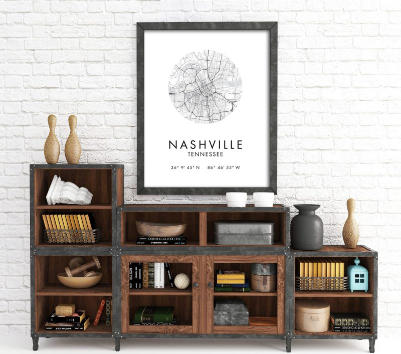 Nashville Map, Nashville City Map, Nashville Map, Nashville Print, Nashville Poster, Map of Nashville , Nashville Tennessee GPS Art Print
