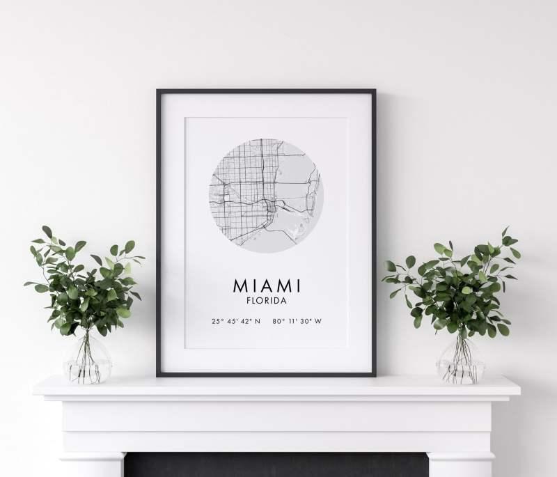 Miami Map, Miami City Map, Miami  Map, Miami Print, Miami Poster, Map of Miami, Miami Florida GPS, Minimalist Art Print