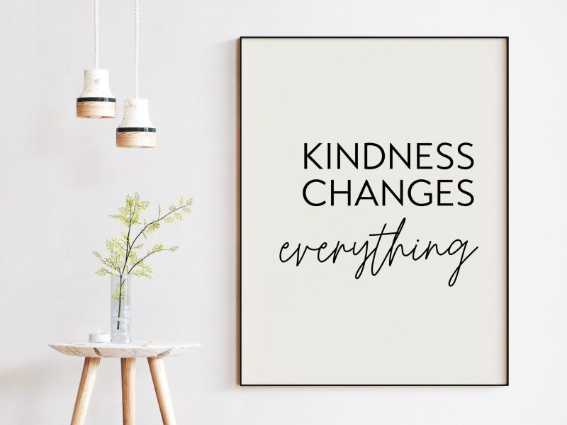Kindness Changes Everything Typography Print, Inspiration Art, Gift For Best Friend, Nursery Art, Encouragement, Affirmation, Kindness Quote
