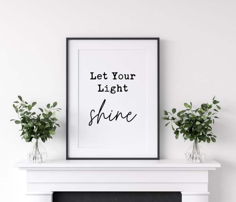 Let Your Light Shine - Matthew 5:16 // Typography Print, Christian Wall Art Decor, Minimalist Decor, Inspirational Quotes, Motivational