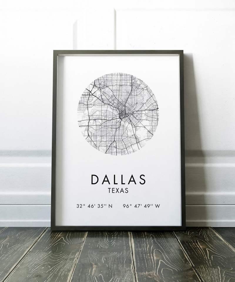Dallas Texas Map, Dallas Texas City Map, Dallas Texas Map, Dallas Texas Print, GPS Art Print,  Dallas Texas Art, Dallas Tx
