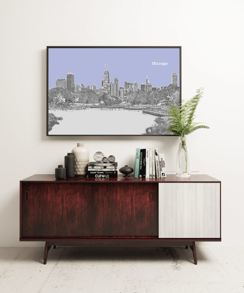 Chicago Illinois Skyline Vintage Design Minimalist Art Print – Chicago Illinois Art Print - Vintage Sky