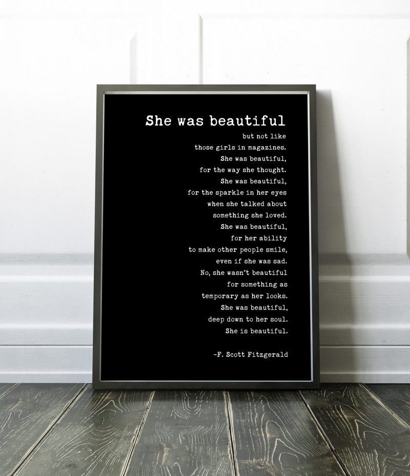 She was beautiful But Not Like Those Girls in Magazines (b) by F. Scott Fitzgerald Quote Typography Print, Wall Decor, Minimalist Decor