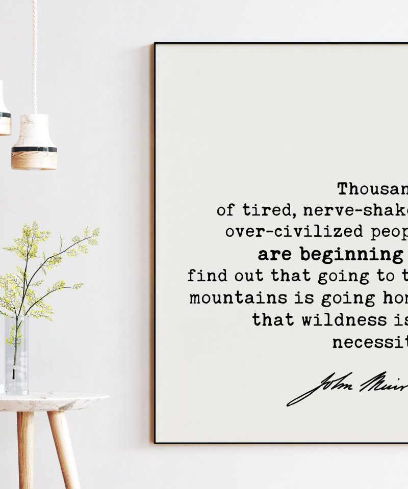 Thousands of tired, nerve-shaken ... going to the mountains is going home; wildness is a necessity. John Muir Quote Print - John Muir Quotes