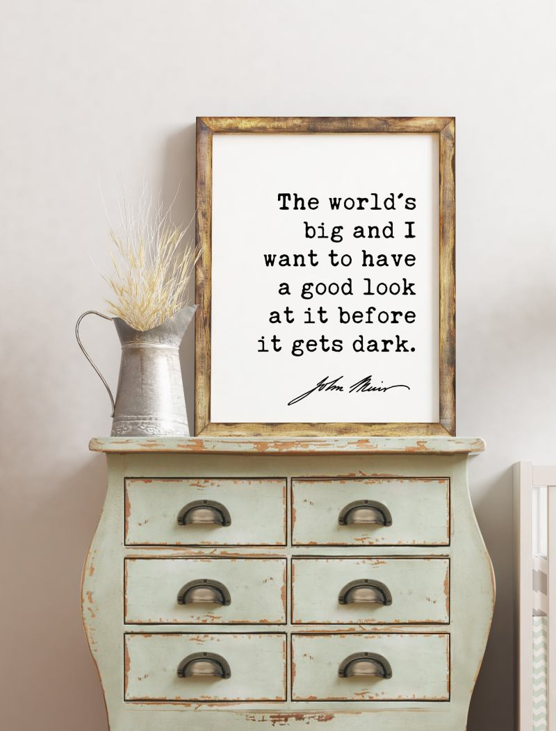 The world's big and I want to have a good look at it before it gets dark. - John Muir Quote Print, Environmentalist Quote,  John Muir Quotes