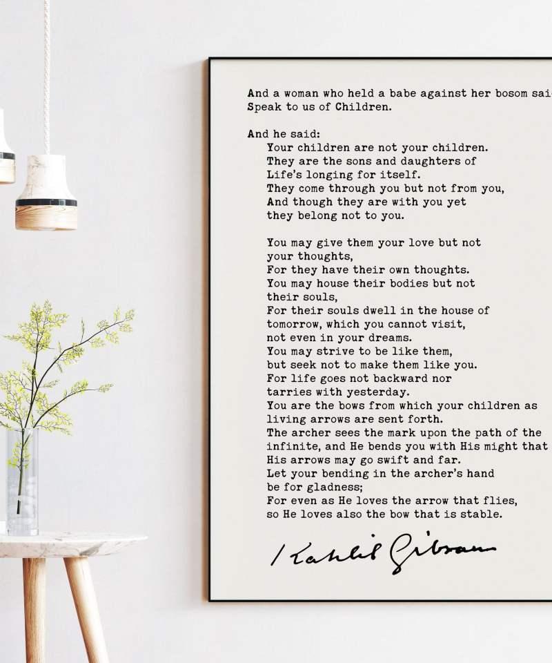 Kahlil Gibran Poem On Children Art Print | Poetry Art Print | Poems | Literary Prints | The Prophet
