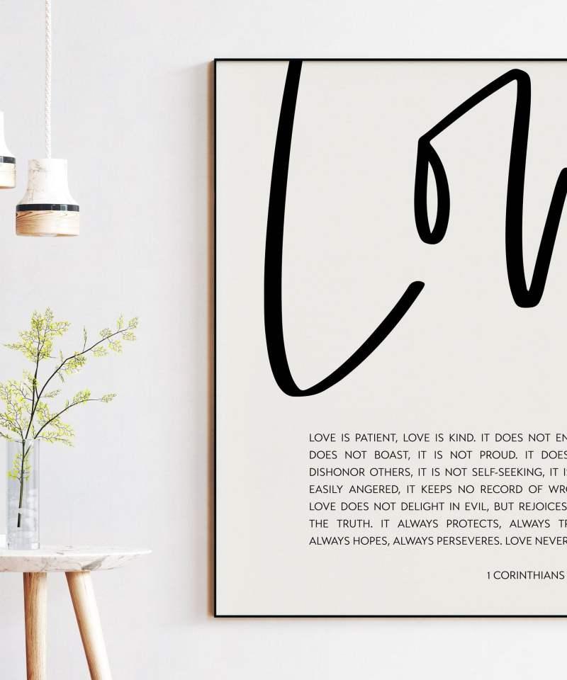 Love is Patient, Love is Kind. 1 Corinthians 13:4-8 Art Print (k) | Religious Scripture | Wedding Gift Quote | Bible Verse Art