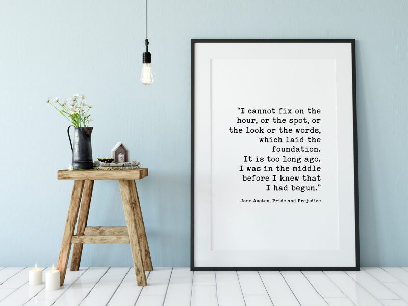 Jane Austen – Pride and Prejudice Quote – I Cannot Fix on the Hour which Laid the Foundation. Typography Art Print - Home Wall Decor