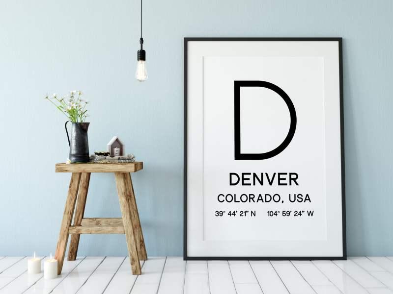 Denver Colorado with GPS Coordinates Typography Print // Home Wall Decor | Office Decor | Living Room Decor | Dorm Decor | Denver Co