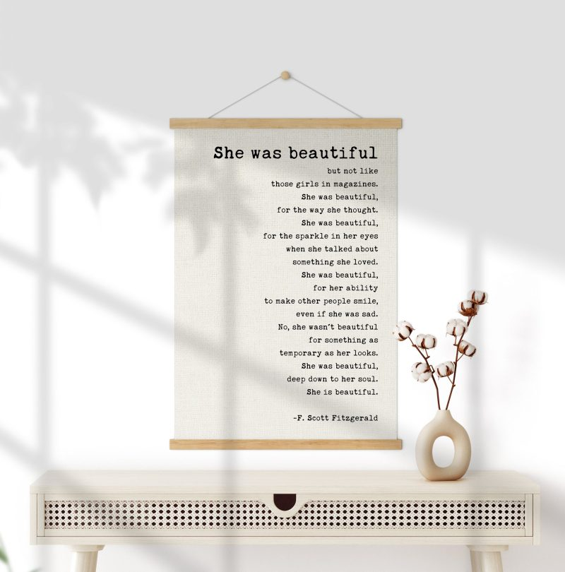 She was beautiful But Not Like Those Girls in Magazines (b) by F. Scott Fitzgerald Quote Canvas Print with Teak Wood Wall Hanger