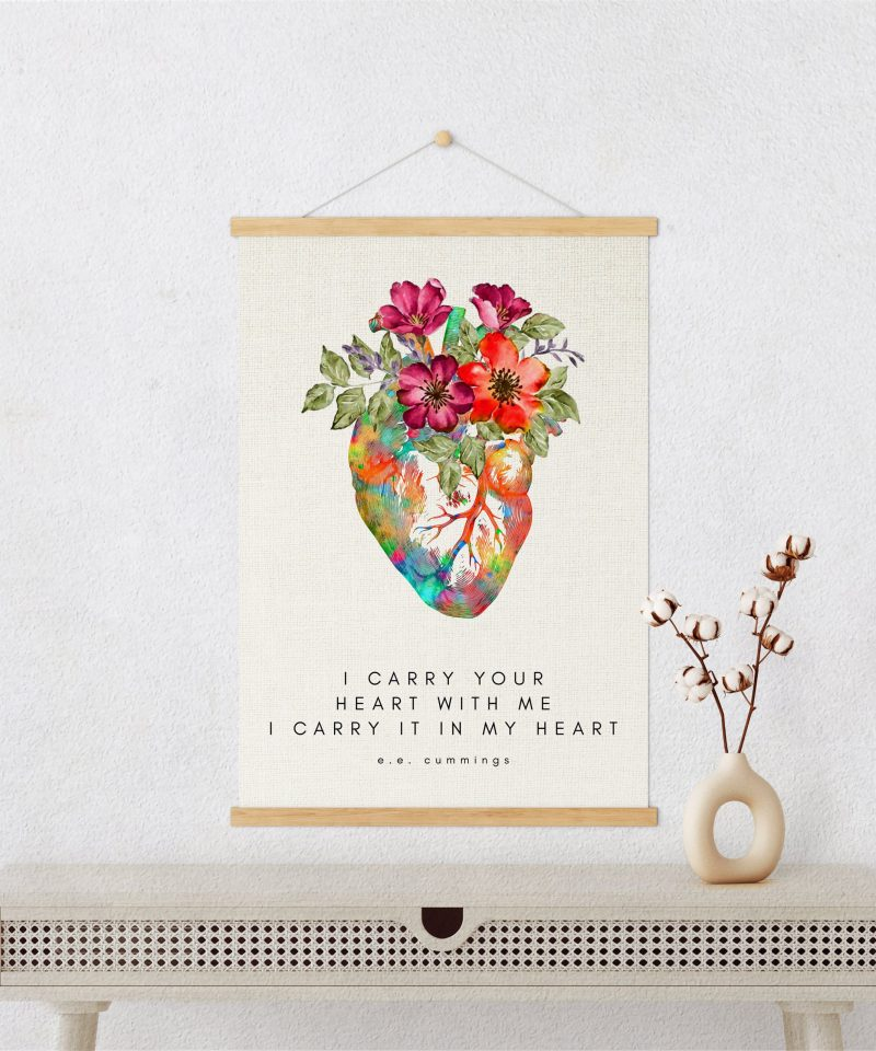 I Carry Your Heart I Carry It In My Heart - E.E. Cummings Poem with Heart Flowers Canvas Art Print with Teak Wood Wall Hanger | Wedding Gift