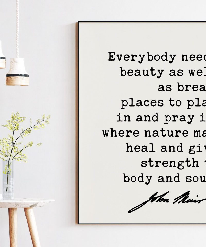 John Muir Quote - Everybody needs beauty as well as bread, places to play in and pray in, where nature ... Art Print - Conservationist