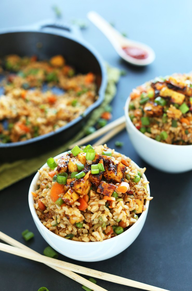 Bowls of our healthy fried rice with crispy tofu for a vegan meal