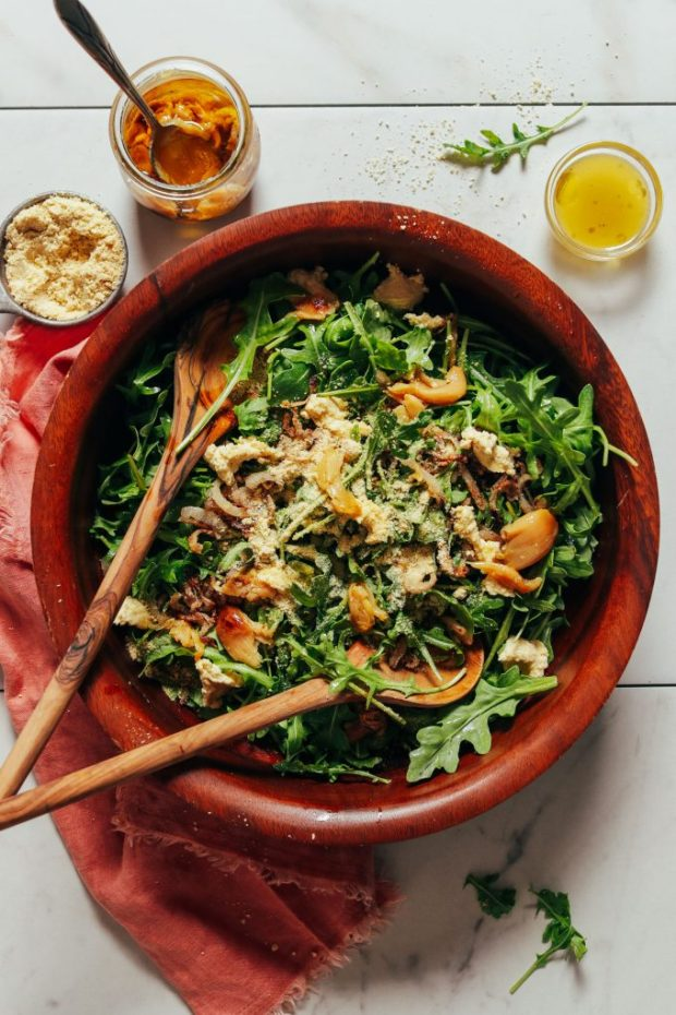 Lemony Arugula Salad with Crispy Shallot
