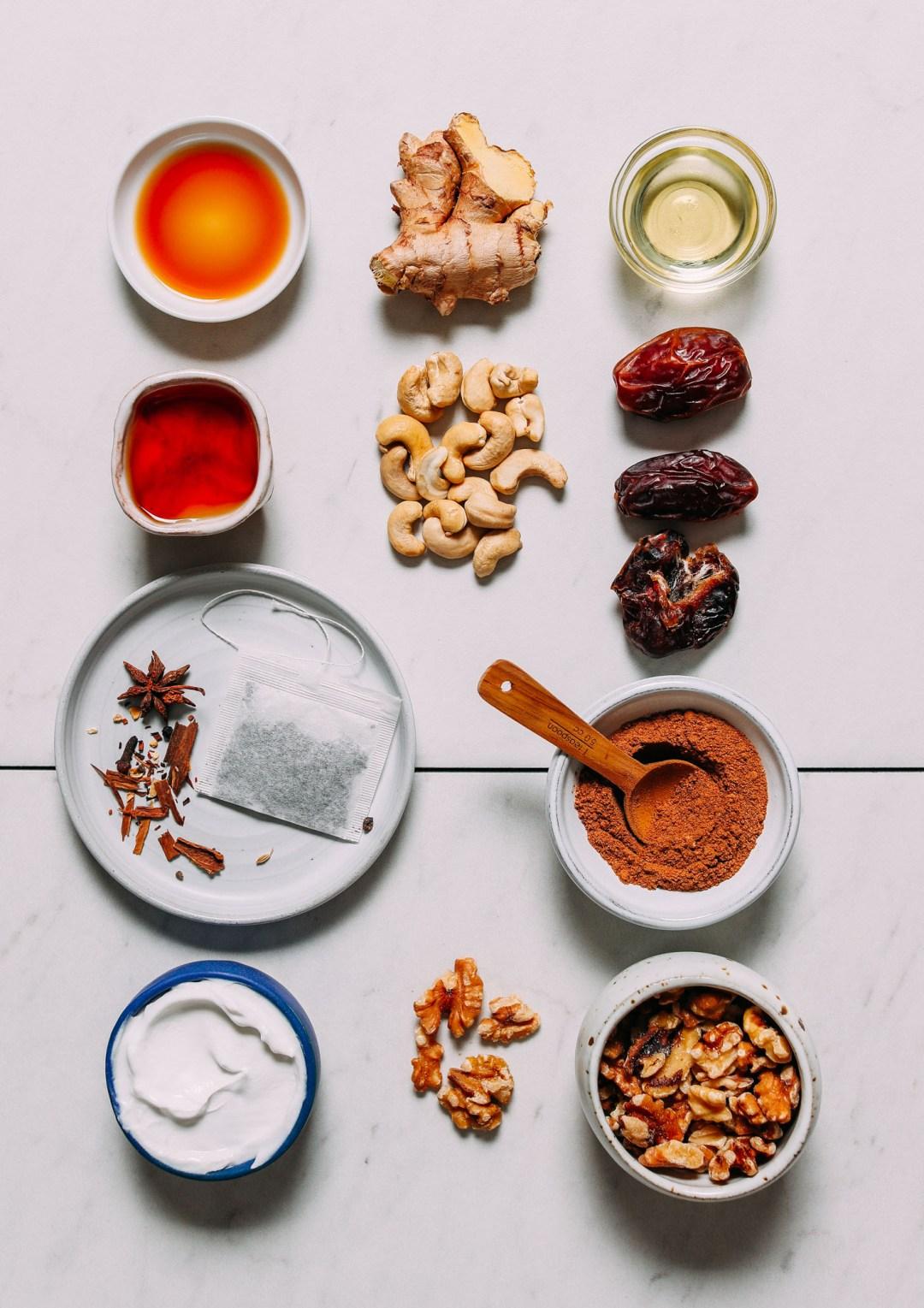 Ingredientes para hacer nuestra receta de pastel de queso vegano Chai