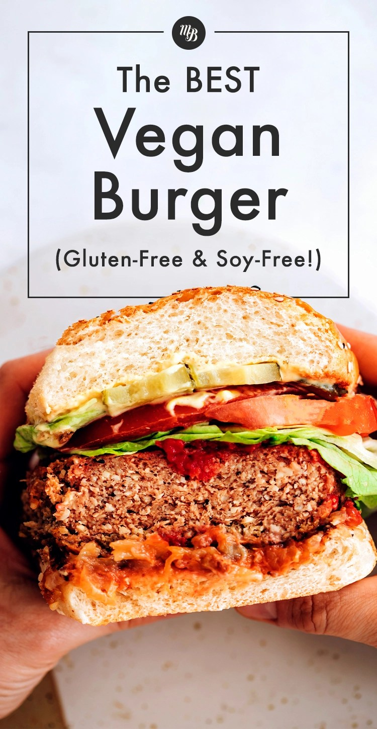 Vegan, gluten and soy-free burger with tomato slices, ketchup, and lettuce