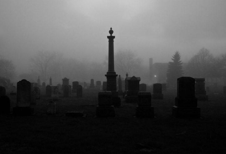 foggy cemetery