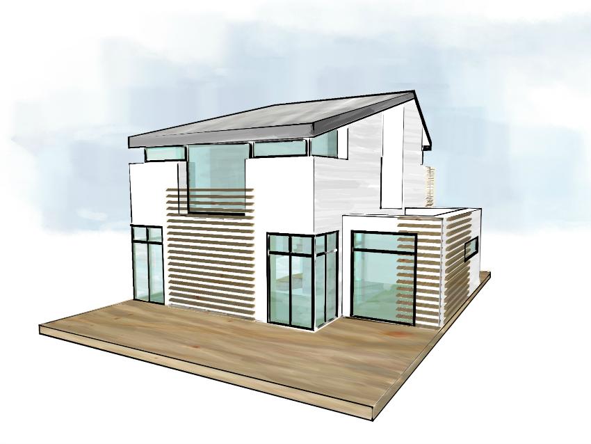 MIM Haus designed by Nic Pinguet. Einfamilienhaus, Holzbauweise, EnergiePlus Rückansicht
