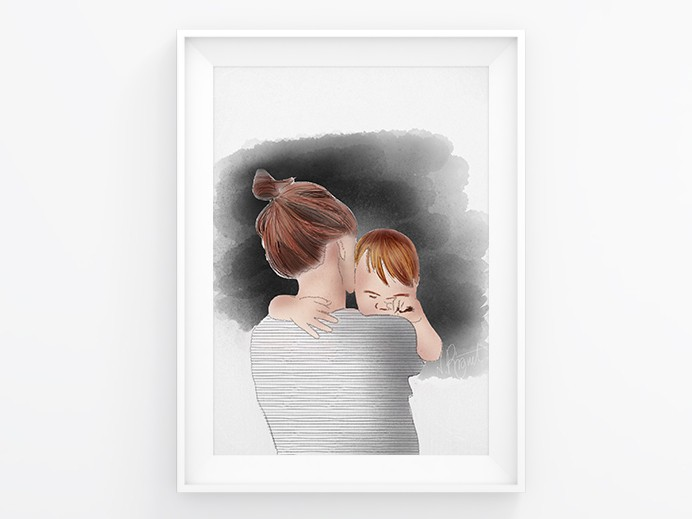 Alles wird gut - Mama tröstet. Illustration by Nic Pinguet