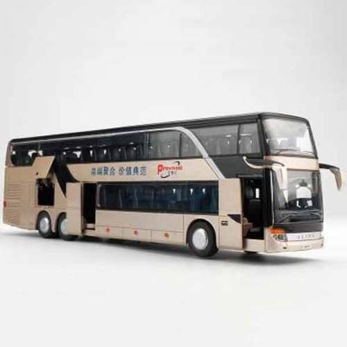 Gold double decker bus