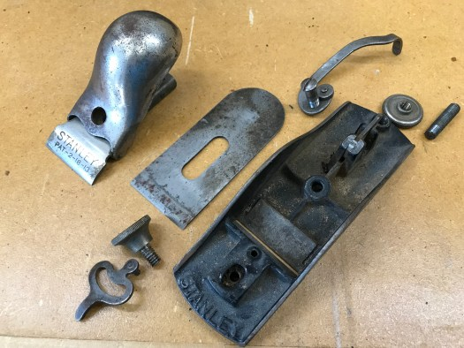 Stanley No. 18 block plane disassembled