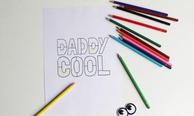 Vaderdag kleurplaat printable Daddy Cool