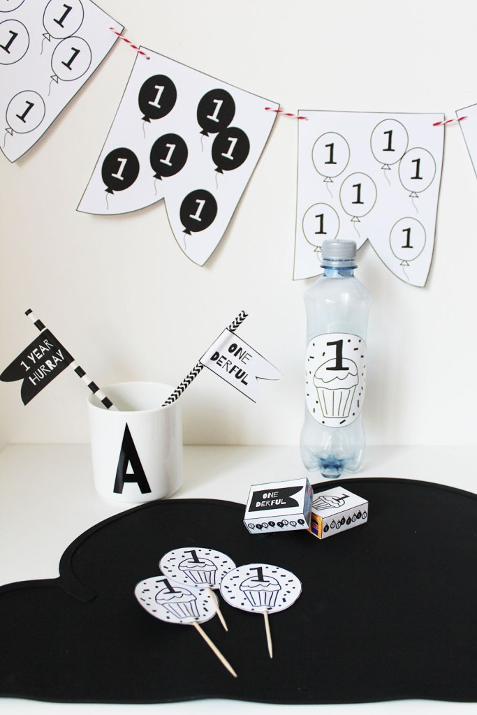 party printables first birthday monochrome party