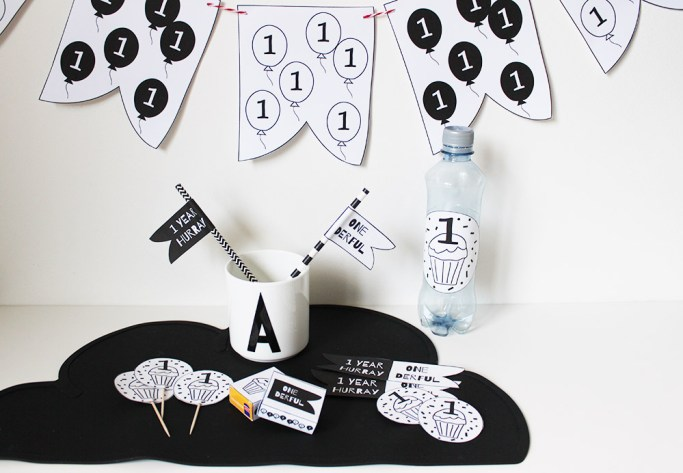 party printables monochrome verjaardag kind