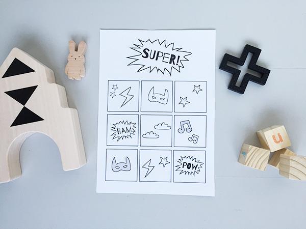 beloningskaart gratis printable superhero