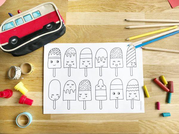 printable ijsjes kleurplaat gratis download