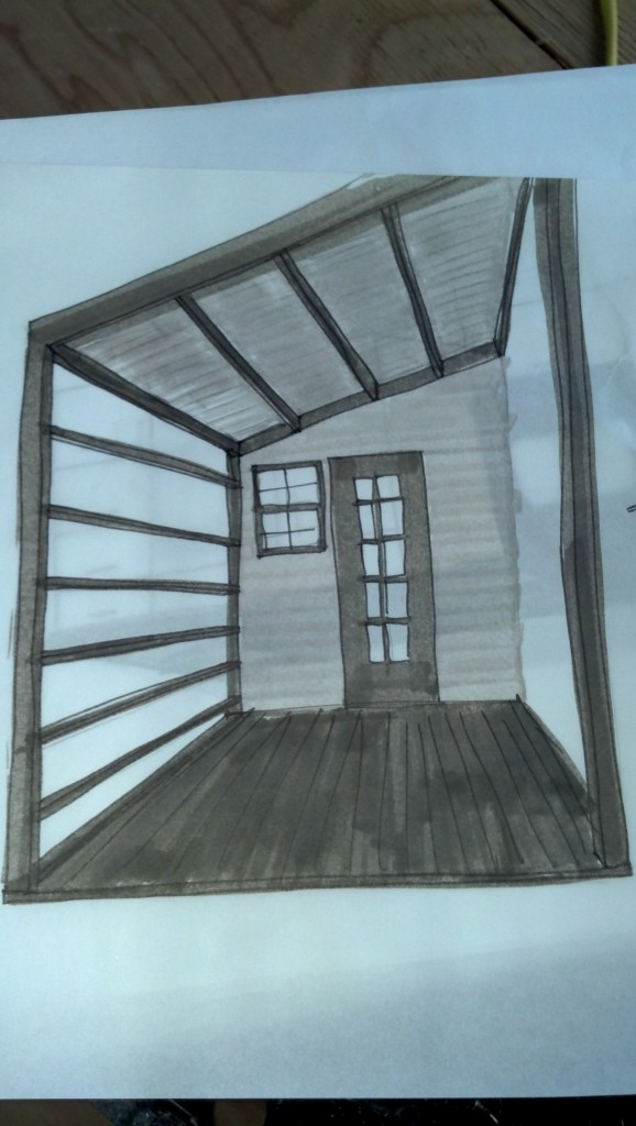 I put together a few quick sketches a while back and then lost them.  I found them tonight and was happy to see that they were still relevant, the design must be settling a little :).  This is the porch.  I was playing around with the direction the structural members would run, this is the way we ended up going with it.